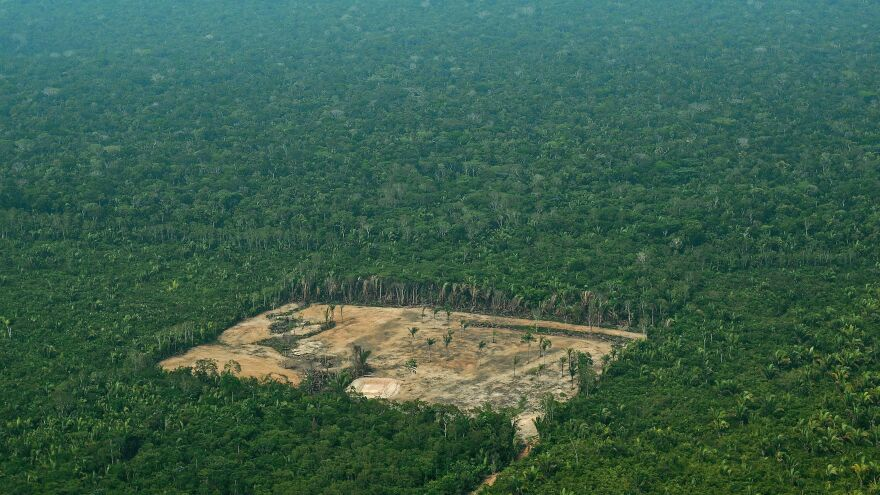 An aerial view shows deforestation in the Western Amazon region of Brazil, taken in September 2017.