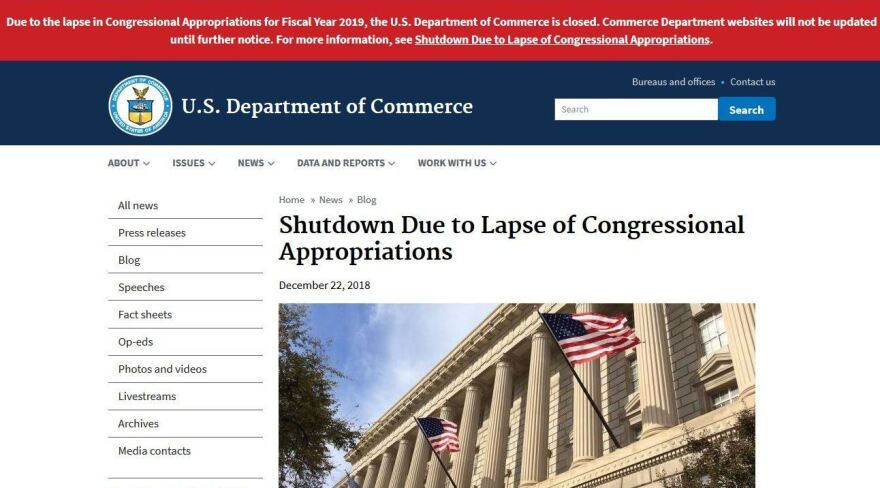 The Commerce Department website is among the federal sites that are not being updated during the partial shutdown.