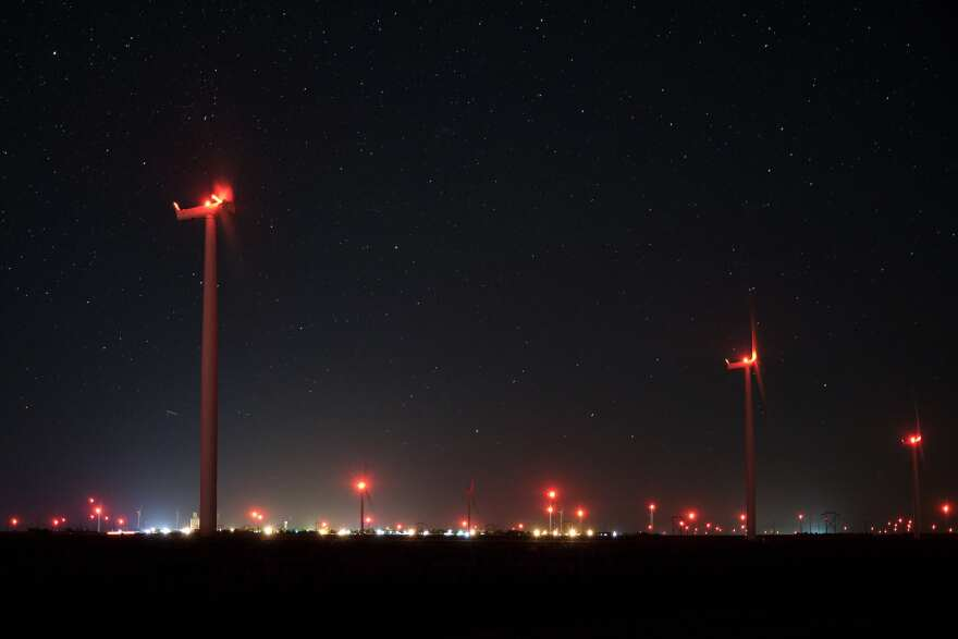 The Spearville Wind Farm in southwest Kansas at night.