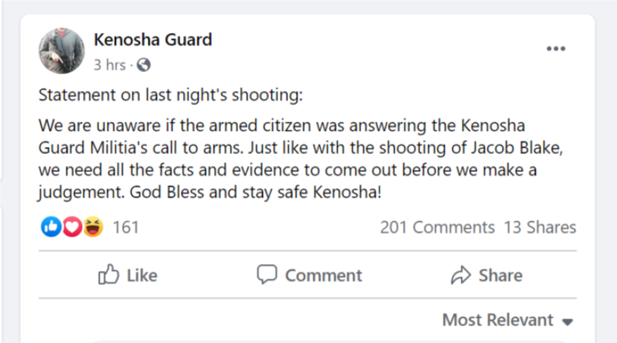 A screen grab from a Facebook group called the Kenosha Guard posted a statement Wednesday saying it was not sure if the perpetrator of violence Tuesday night in Kenosha was affiliated with the group.