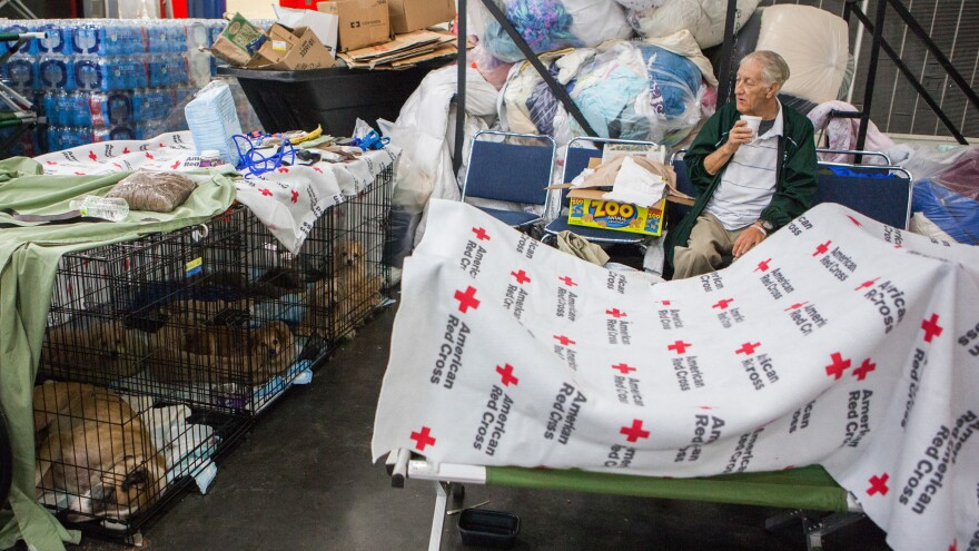 Thomas Hayes, 73, sits in a corner with his five dogs safely in crates in the George E. Brown Convention Center.