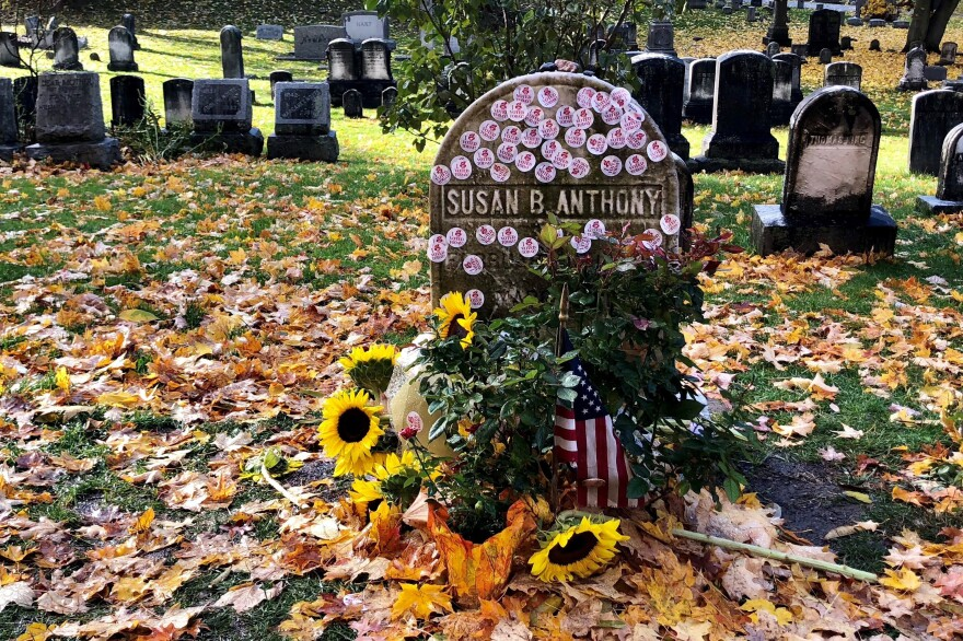 "Susan B. Anthony's grave is covered with ""I Voted"" stickers in Rochester, N.Y., on Tuesday."