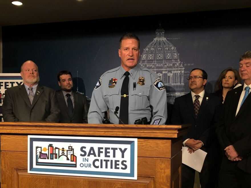 The president of the Minneapolis Police Federation, Lt. Bob Kroll, speaks at a news conference on Feb. 17 in St. Paul. Protesters are calling for his resignation.