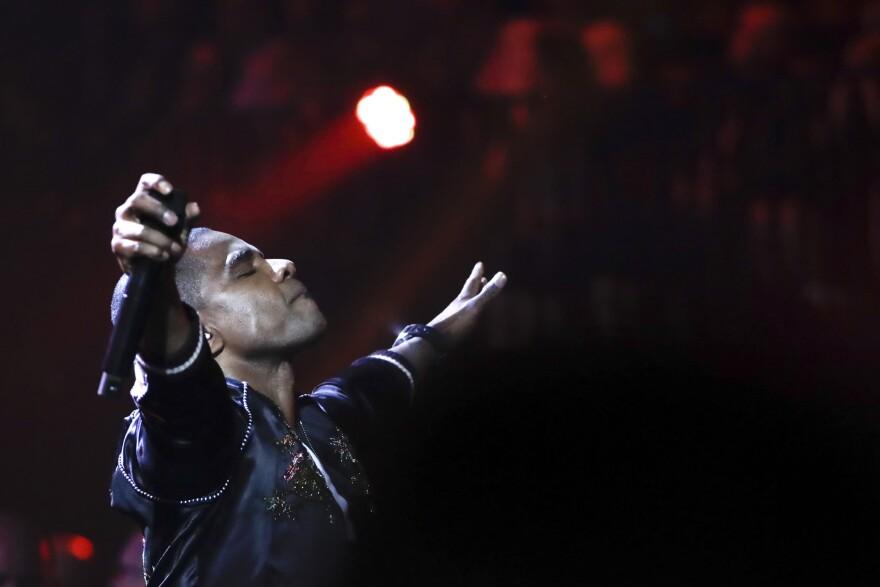 Kirk Franklin performs during the 2019 Dove Awards in Nashville, Tenn. (Mark Humphrey/AP)