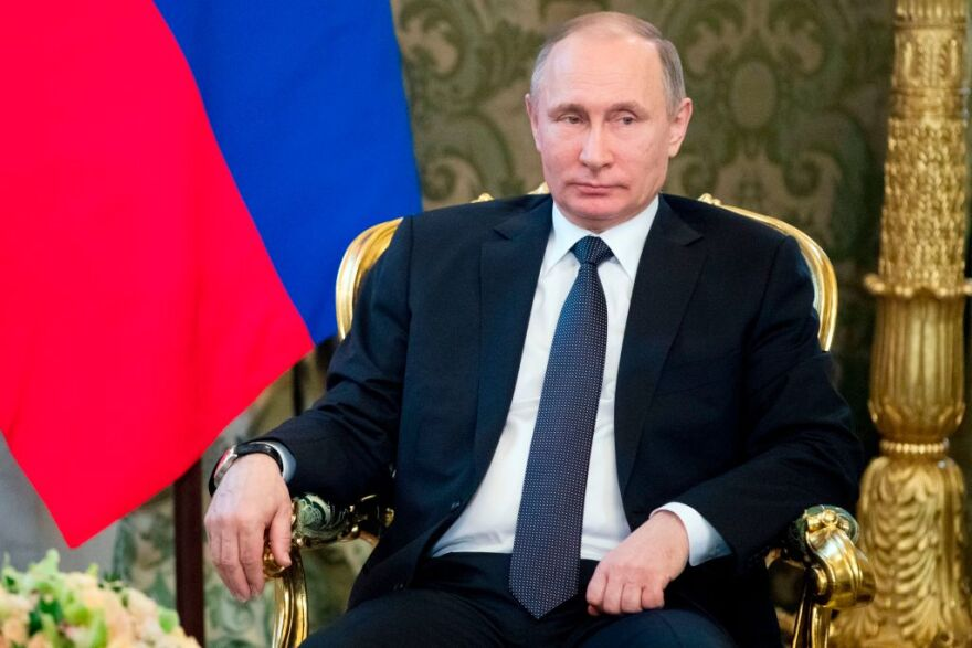 Russian President Vladimir Putin attends a meeting with his Uzbek counterpart at the Kremlin in Moscow on April 5, 2017. (Pavel Golovkin/AFP/Getty Images)