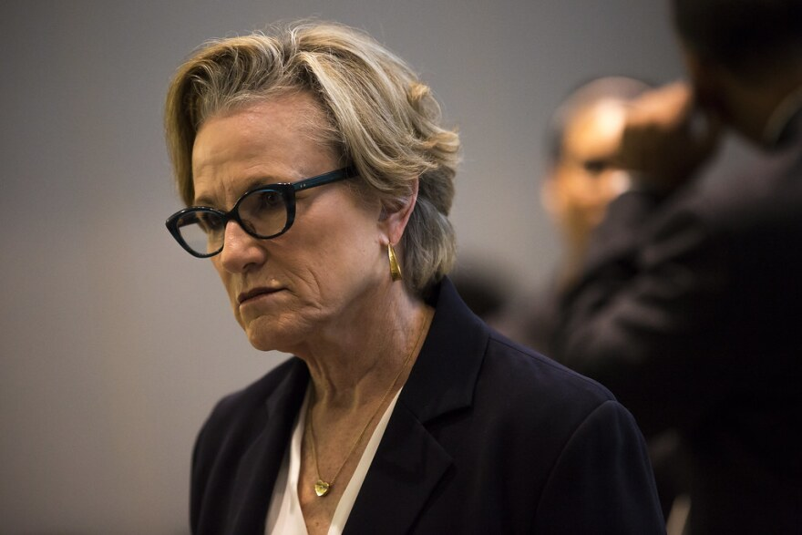 Margaret Moore, the Travis County District Attorney, at a Travis County press briefing in 2017.