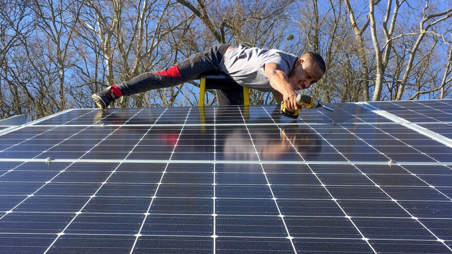 Daniel Van Clief, who graduated from Whites Creek High School in May, spent much of his senior year working alongside Carney learning the skills needed to become a solar installer.