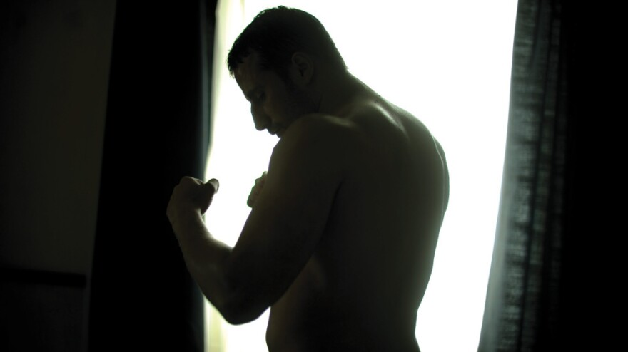 Cattle farmer <strong></strong>Jacky Vanmarsenille (Matthias Schoenaerts) boxes with unseen demons in the Oscar-nominated <em>Bullhead</em>.