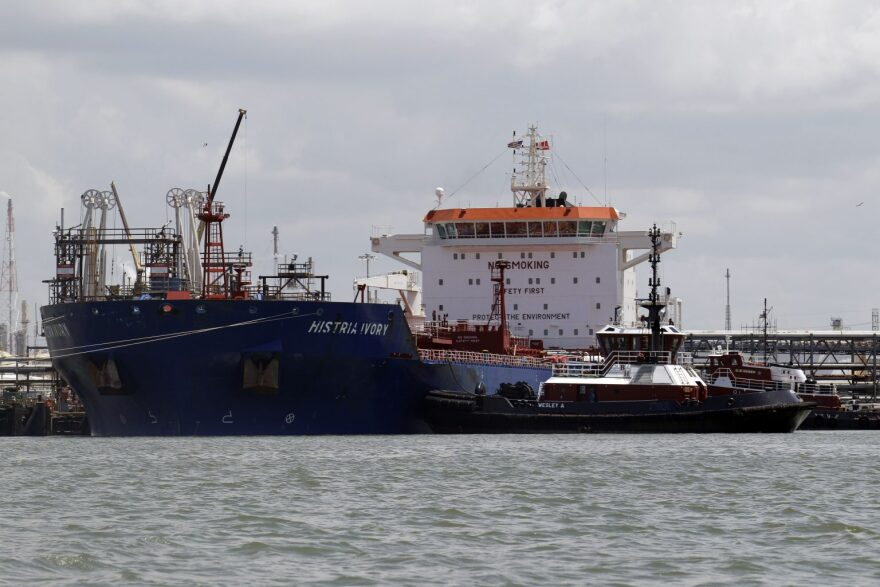 An oil tanker sitting on the water.