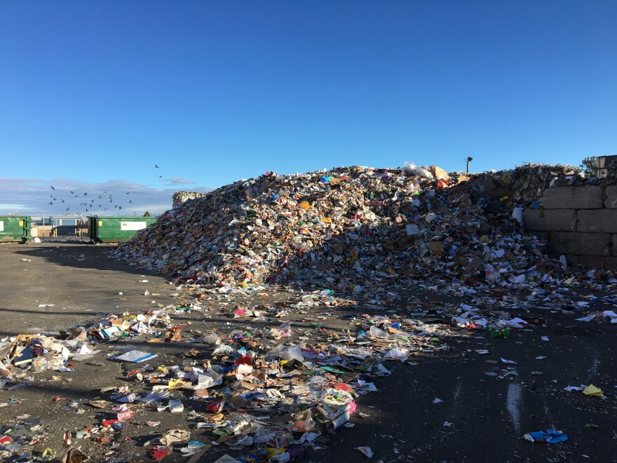 Photo of large pile of material to be recycled.