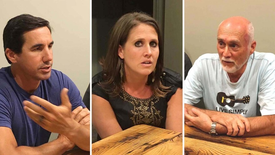 North Carolina voters (from left: David Cuthbert, Kristine Martin and Jack Lawrence) and members of the The Heart congregation, a church in Boone, N.C., all described their Christian beliefs as central to their lives.
