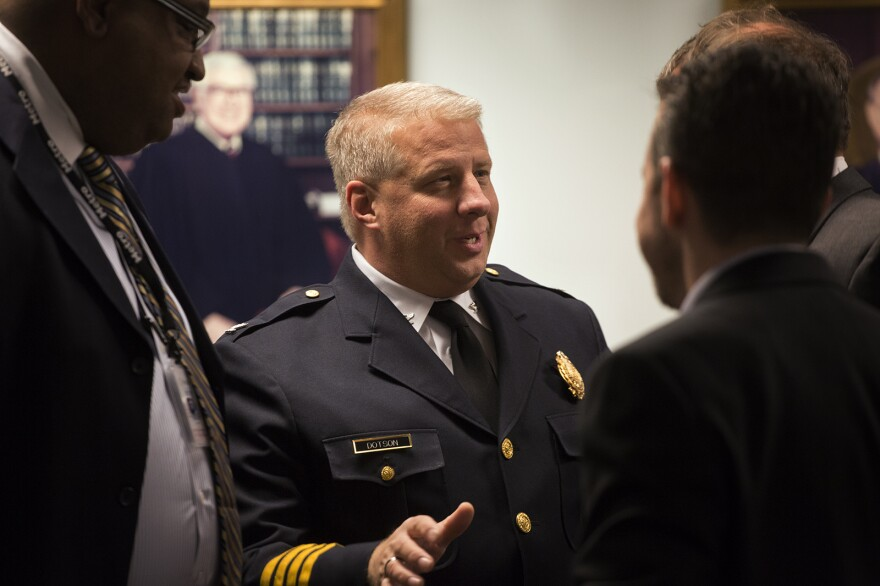 St. Louis Police Chief Sam Dotson speaks with attendees before the start of a speech delivered by Attorney General Jeff Sessions on March 31, 2017.