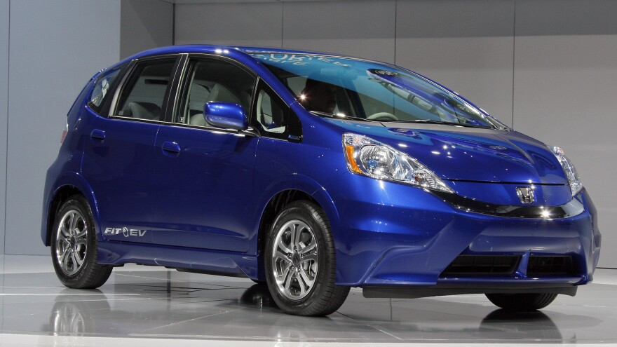 The new all-electric 2013 Honda Fit EV is seen during its debut at the Los Angeles Auto Show, in Los Angeles.