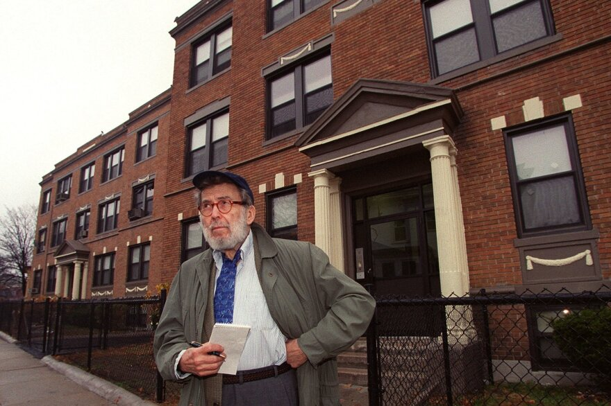 Jazz critic Nat Hentoff stands in front of his old home in Boston on Dec. 5, 2001.