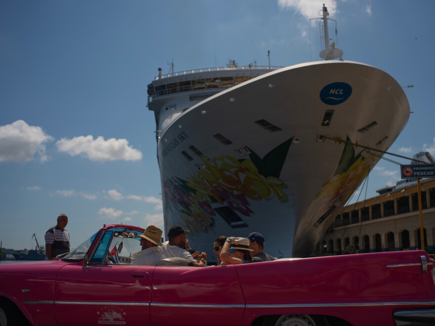 Tourists who have just disembarked from a cruise liner tour Havana on Tuesday. The Trump administration has imposed major new travel restrictions on visits to Cuba by U.S. citizens.