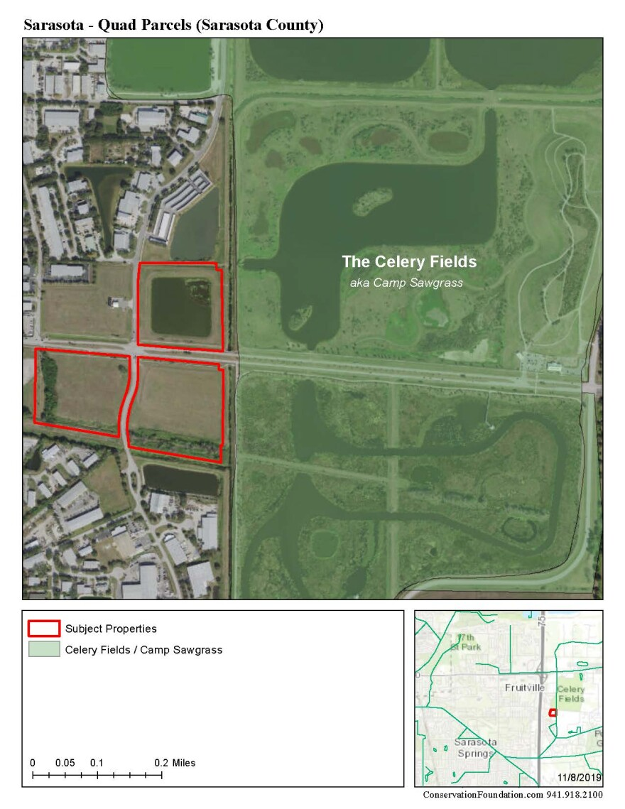 Map outlining the newly protected parcels adjacent to Celery Fields.