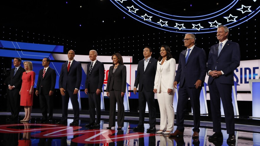 Candidates are introduced before the second of two Democratic presidential primary debates hosted by CNN last month in Detroit.