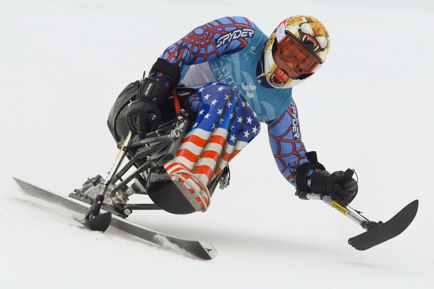 Muffy Davis of USA on her way to Silver during the Salt Lake City Winter Paralympic Games in Ogden, Utah in 2002.