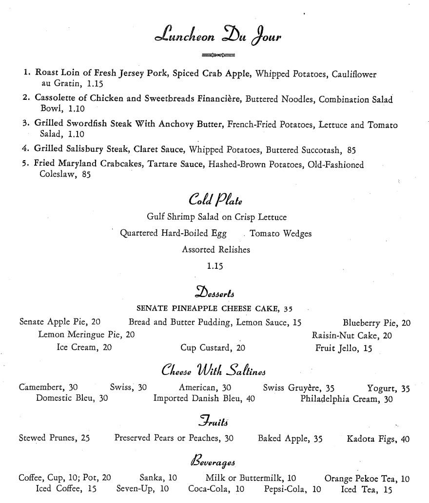 A 1954 menu from a Capitol Hill restaurant