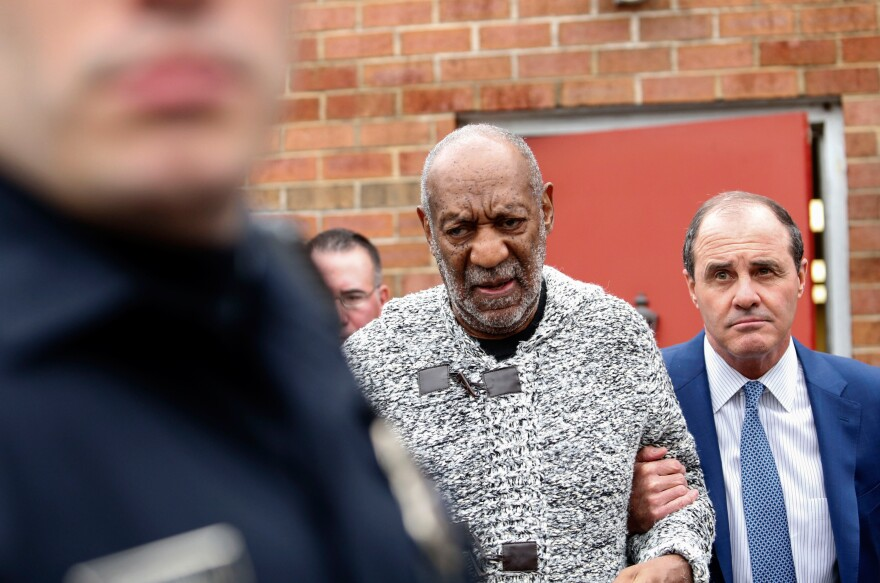 "Bill Cosby arrives Wednesday at the courthouse in Elkins Park, Pa., to face charges of aggravated indecent assault. Cosby was arraigned over an incident from 2004 --€"" the first criminal charge filed against the actor after dozens of women claimed abuse."
