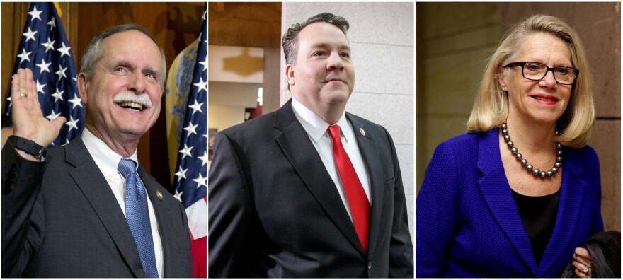 West Virginia's U.S. House members, left to right: Rep. David McKinley, Rep. Alex Mooney and Rep. Carol Miller.