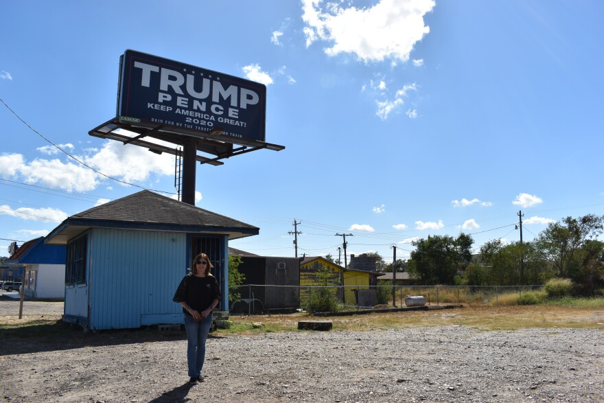 Anna Holcomb, a Democratic voter in Zapata, helped put up billboards and flags in support of Trump with the help of the Zapata Trump Train Facebook group.