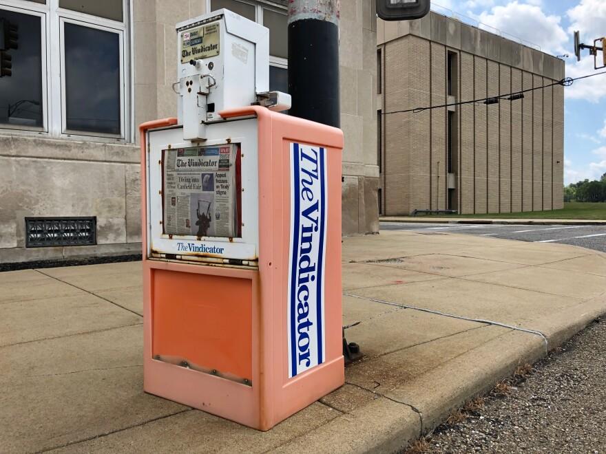 a photo of a Vindicator newspaper box