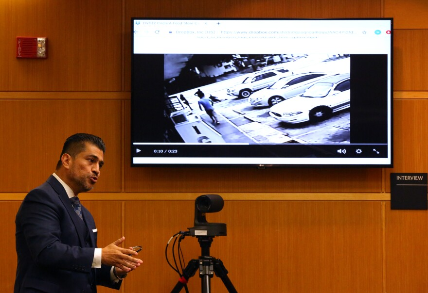 Defense attorney Bryant Camareno gives his interpretation of a video showing his client Michael Drejka shooting Markeis McGlockton outside the Circle A Food Mart.