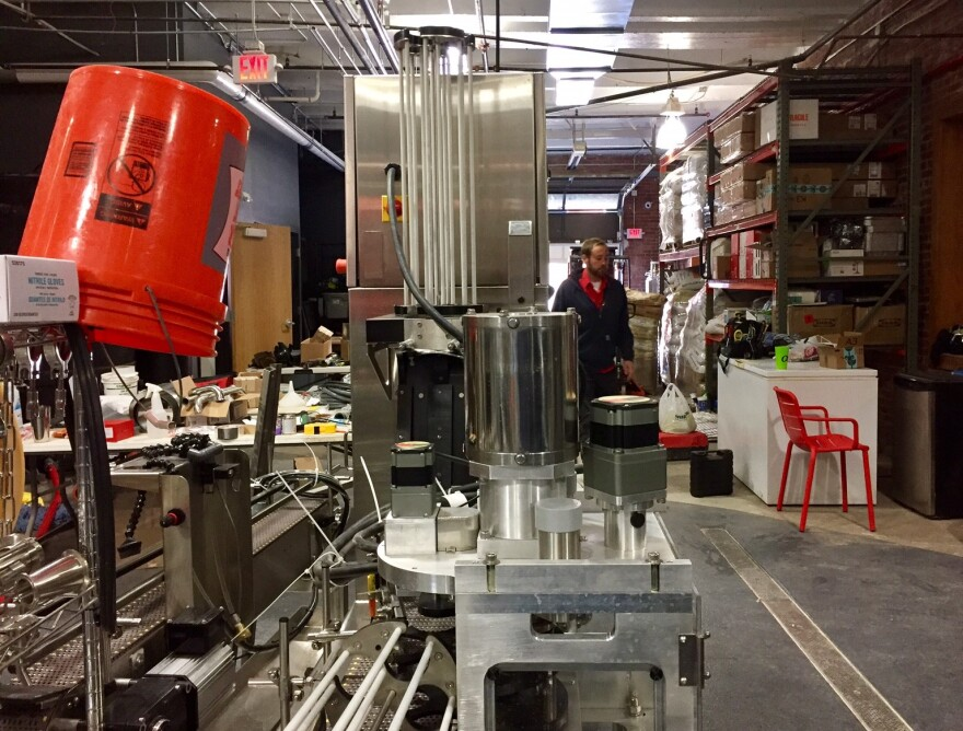 The beer canning line at the soon-to-open City Barrel Brewing sits idle during the partial shut down of the federal government.