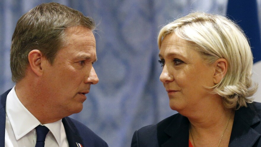 Nicolas Dupont-Aignan (left) and Marine Le Pen at a joint press conference in Paris on April 29, where Le Pen declared she would appoint Dupont-Aignan prime minister if elected.