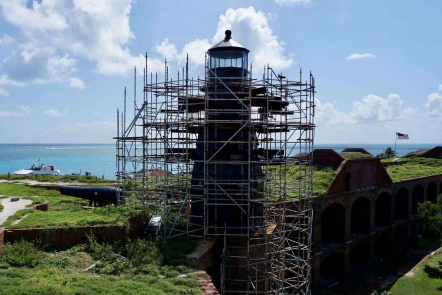 Tortugas Lighthouse being repaired