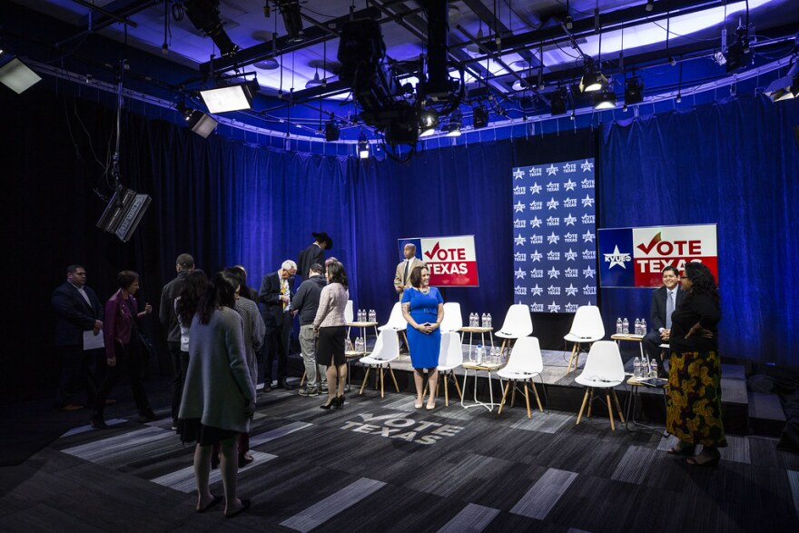 The set of a debate at KVUE for candidates running for the Democratic nomination for Senate.