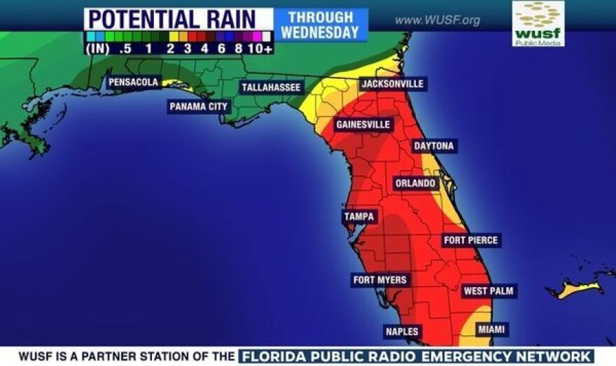 Rainfall predictions through Wednesday.