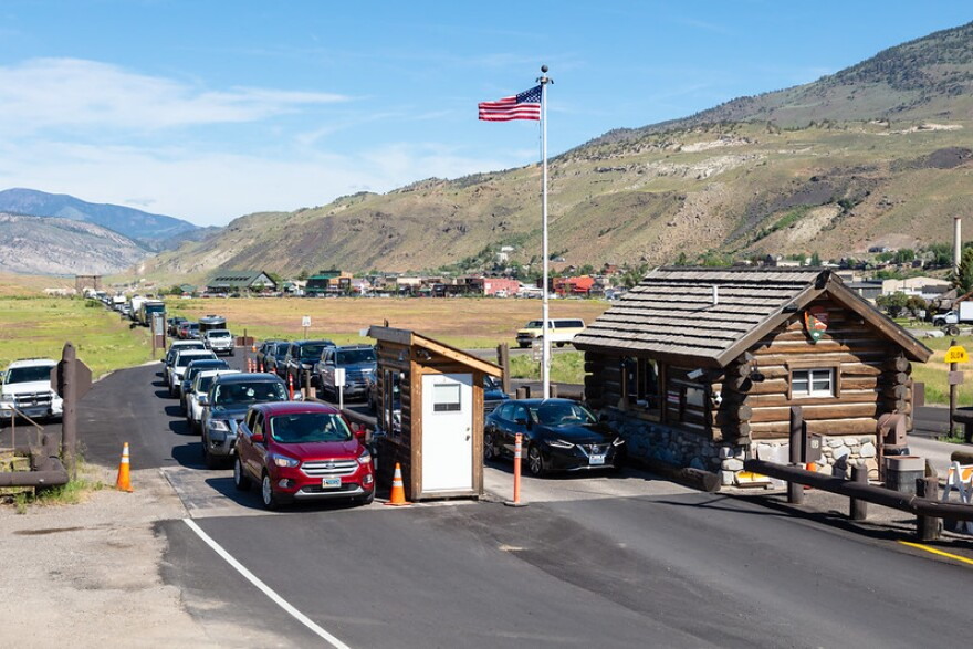 Yellowstone National Park's north entrance outside Gardiner, Mont., photographed on June 26.