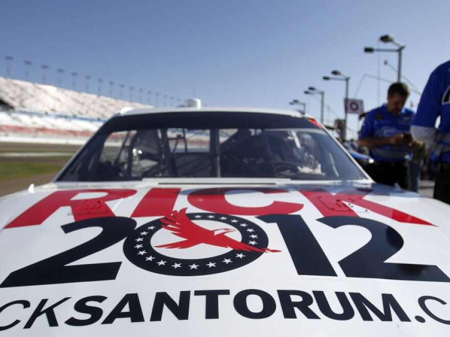 David Ragan's (34) car, sponsored by GOP presidential candidate Rick Santorum, sits on pit road prior to the NASCAR Sprint Cup Kobalt Tools 400 auto race on Sunday, March 11, 2012, in Las Vegas.