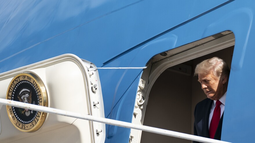 Former President Donald Trump steps off Air Force One on the last day of his presidency on Jan. 20.