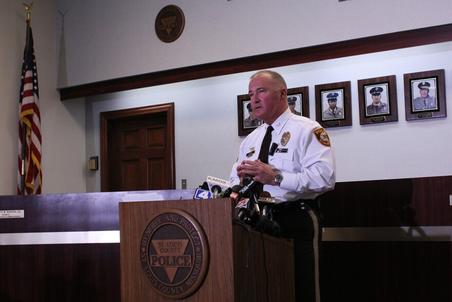St. Louis County Police Department Chief John Belmar gives update on case involving to shot police officers