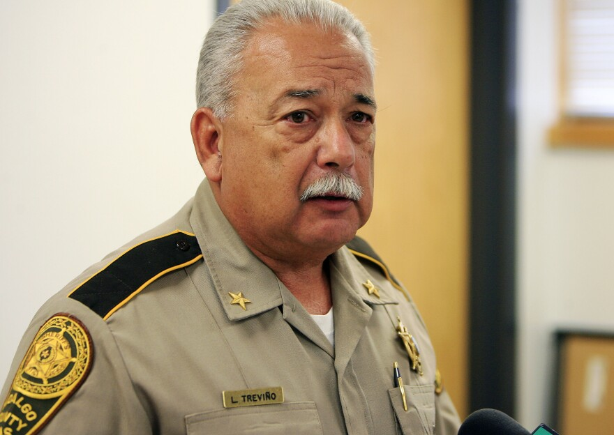 Hidalgo County Sheriff Lupe Treviño talks to reporters Oct. 31, 2011, at the Hidalgo County sheriff's office in Edinburg, Texas. He's serving five years in federal prison for accepting illegal campaign money from a drug trafficker.