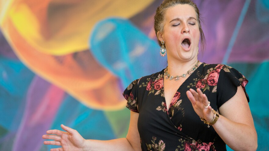 """Soprano Katharine Gunnink sings the aria """"Ch'il Bel Sogno"""" by Puccini at Adobe Headquarters in San Jose, Calif. for Arias in the Office."""