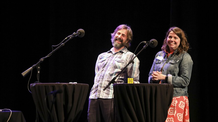 Contestants compete in Ask Me Another's final round at the Moore Theatre, in Seattle, Washington.