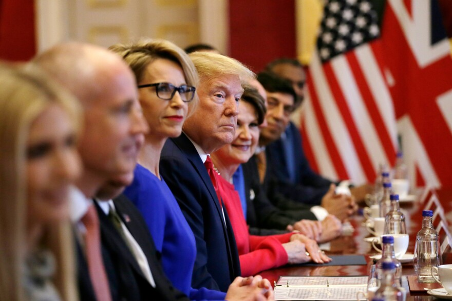 Trump attends a business roundtable with May at St. James's Palace, during the second day of his state visit.