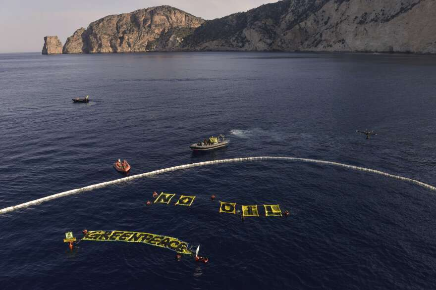 Greenpeace environmental activists protest oil exploration in the waters near the Spanish island of Ibiza on June 11.