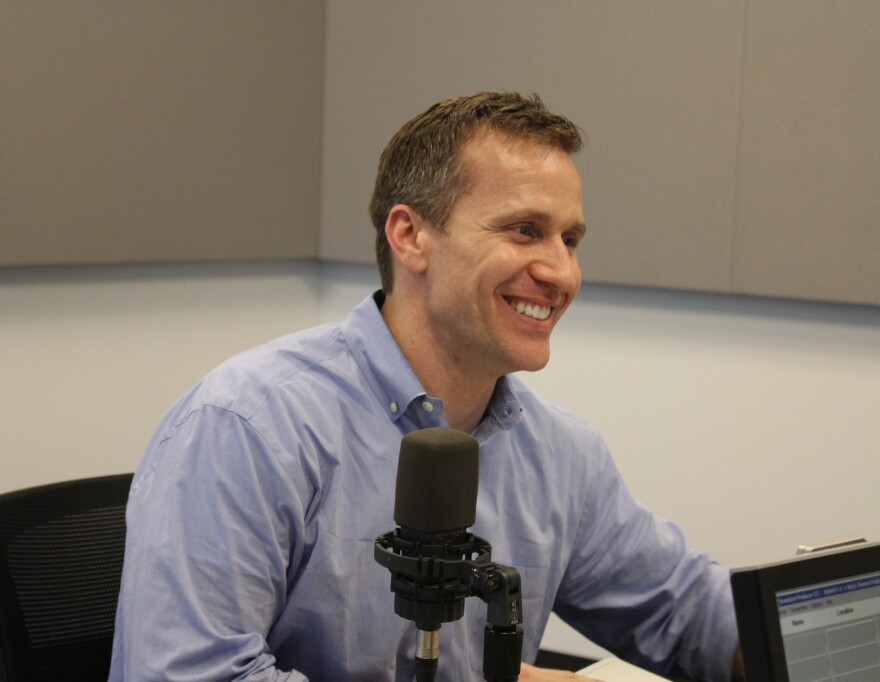 Author Eric Greitens talks to 'St. Louis on the Air' host Don Marsh on March 16, 2015, at St. Louis Public Radio in St. Louis.