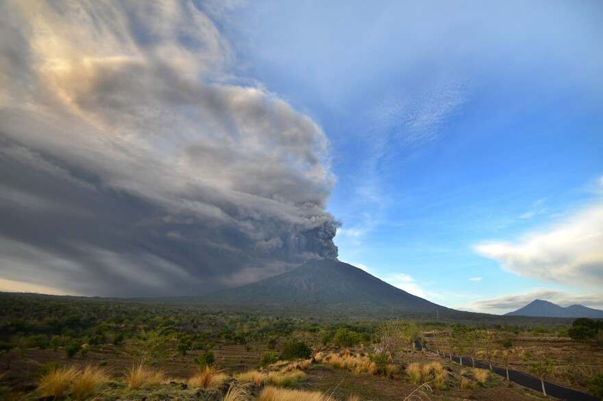 Ash pours from Mount Agung during an eruption on Indonesia's resort island of Bali on Sunday.