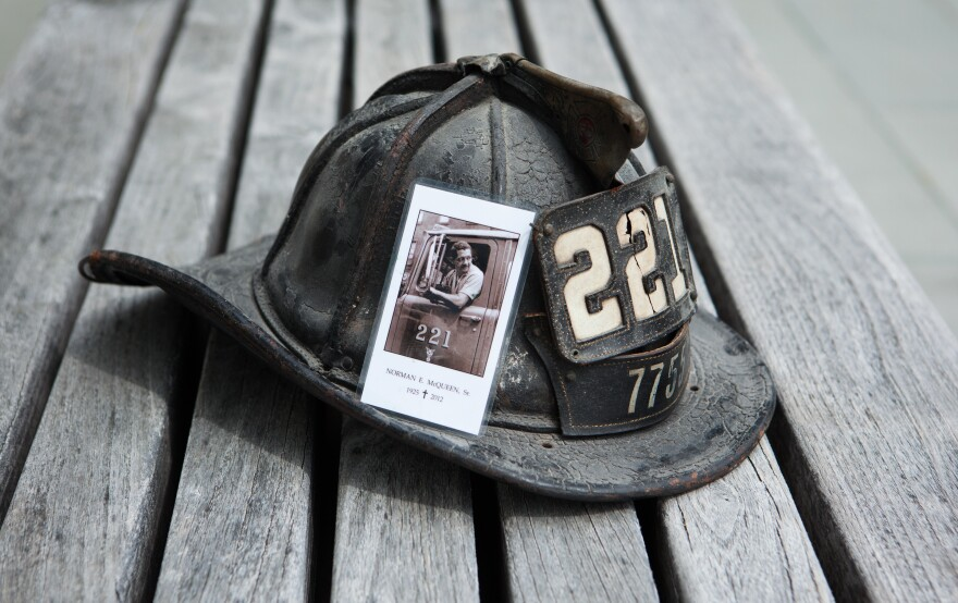 Michel Martin's father was a New York City firefighter in 1968, when race riots erupted in neighborhoods across the city and country. His memorial card sits on his dented helmet from those years.