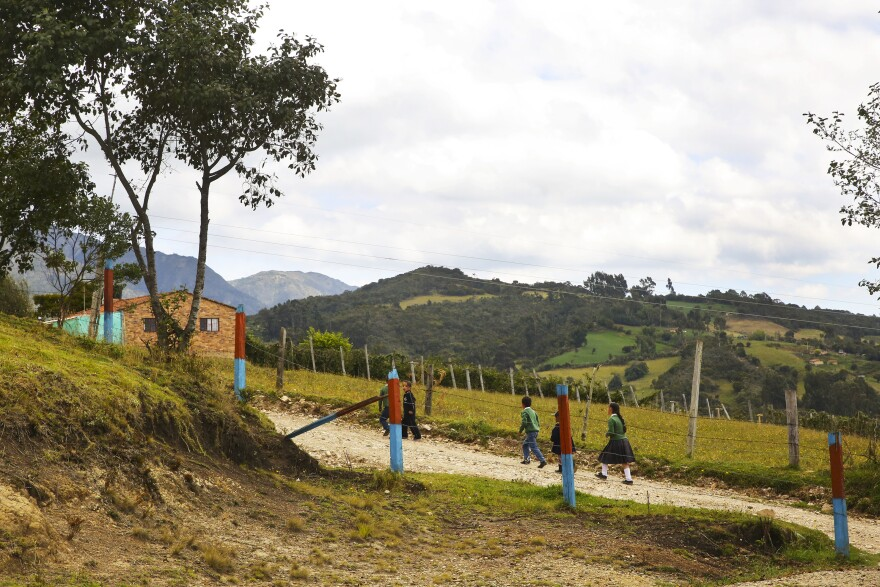 Escuela Rosal sits on a hillside 9,000 feet up in the mountains. It has 33 students, ages 4 through 11, many of whom walk up to an hour to get here from their families' farms.