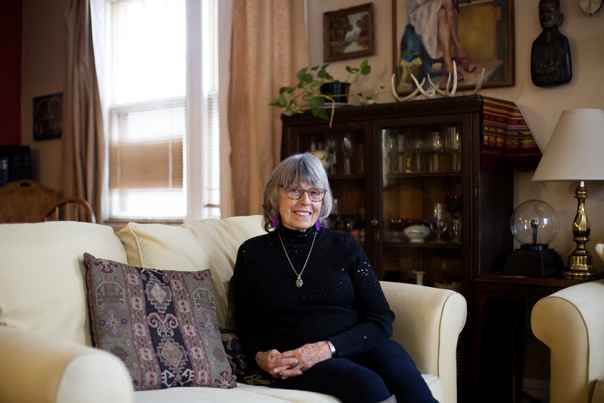 Psychotherapist Mary Sennewald poses for a portrait at her home in St. Louis on Feb. 4, 2020