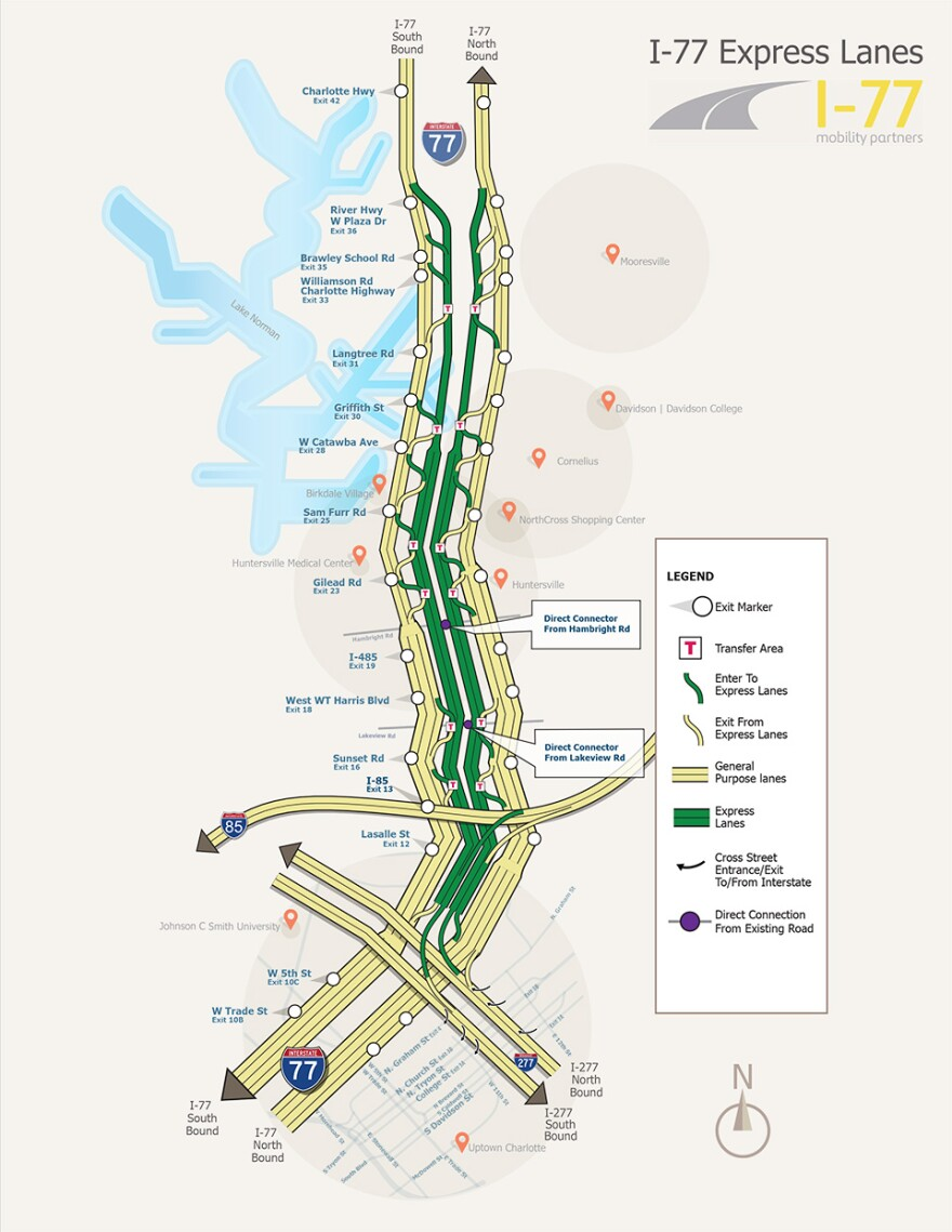 A map shows the length of the 26-mile project from Charlotte Mooresville, with toll lane entry and exit points.