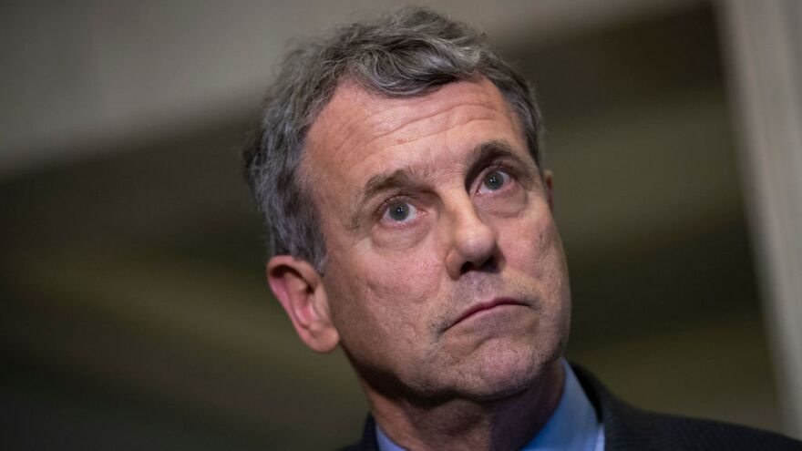Sen. Sherrod Brown, D-Ohio, looks on during a press conference on Capitol Hill in December 2018.