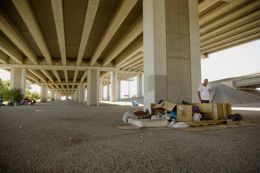 Danny Boura lives under an overpass at Ben White Boulevard.